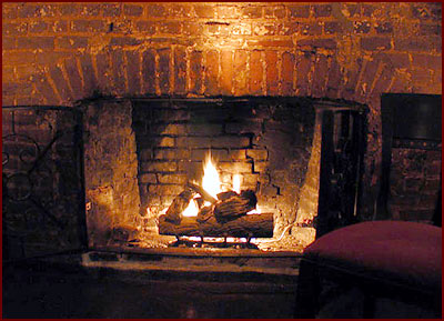 Fireplace with a Fire Going